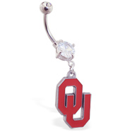 Belly Ring with official licensed NCAA charm, Oklahoma University Sooners