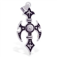 Black alloy fancy cross pendant