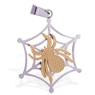 Stainless steel web pendant with gold colored spider