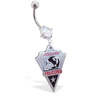 Belly Ring with official licensed NFL charm, Atlanta Falcons