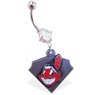 Belly Ring with official licensed MLB charm, Cleveland Indians