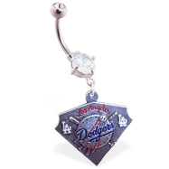 Belly Ring with official licensed MLB charm, Los Angeles Dodgers