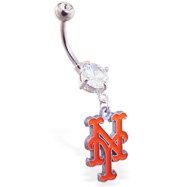 Belly Ring with official licensed MLB charm, New York Metts