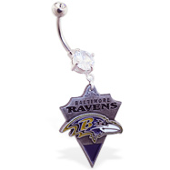 Belly Ring With Official Licensed NFL Charm, Baltimore Ravens
