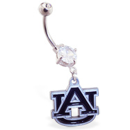 Belly Ring with official licensed NCAA charm, Auburn University Tigers