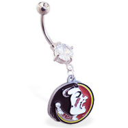 Belly Ring with official licensed NCAA charm, Florida State Seminoles