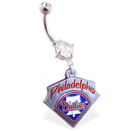Belly Ring with official licensed MLB charm, Philadelphia Phillies