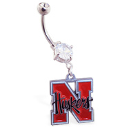 Belly Ring With Official Licensed NCAA Charm, University Of Nebraska Cornhuskers
