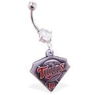 Belly Ring with official licensed MLB charm, Minnesota Twins