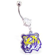 Belly Ring with official licensed NCAA charm, Louisiana State University Tigers