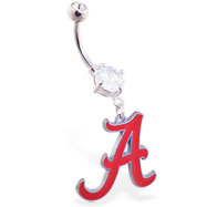 Belly Ring With Official Licensed NCAA Charm, University Of Alabama Crimson Tide Belly Ring