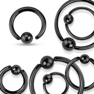 Black coated stainless steel captive bead ring with one sided fixed ball, 14 ga