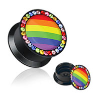 Pair Of Double Flared Acrylic Jeweled Saddle Plugs with Rainbow Striped Center