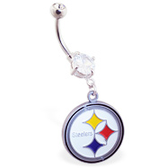 Belly Ring With Official Licensed NFL Charm, Pittsburgh Steelers