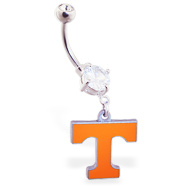 Belly Ring with official licensed NCAA charm, University of Tennessee Volunteers