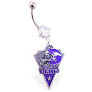 Belly Ring with official licensed NFL charm, Minnesota Vikings