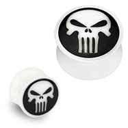 Pair Of Organic Buffalo Bone Double Flared Plugs with Skull Inlay