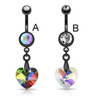 Black navel ring with dangling rainbow prism heart