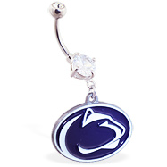 Belly Ring With Official Licensed NCAA Charm, Penn State Nittany Lions