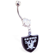 Belly Ring with official licensed NFL charm, Oakland Raiders