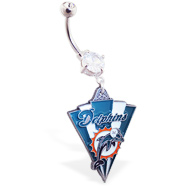 Belly Ring with official licensed NFL charm, Miami Dolphins