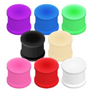 Pair Of Flexible Colored Silicone Double Flared Plugs