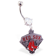 Belly Ring with official licensed MLB charm, Boston Red Sox