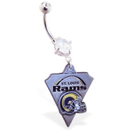 Belly Ring with official licensed NFL charm, St. Louis Rams