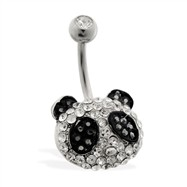 Pave jeweled panda face belly ring
