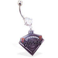 Belly Ring With Official Licensed MLB Charm, San Francisco Giants