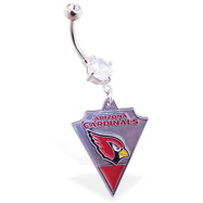 Belly Ring with official licensed NFL charm, Arizona Cardinals
