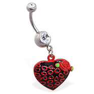 Jeweled belly ring with dangling leopard print heart with rose