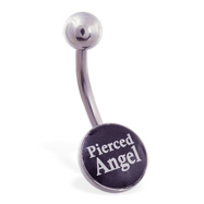 "Logo belly button ring ""Pierced Angel"""