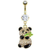 Gold Tone Belly Ring with Dangling Panda Bear