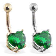 14K Gold belly ring with emerald 8mm CZ heart