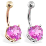 14K Gold belly ring with pink 8mm CZ heart
