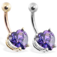 14K Gold belly ring with purple 8mm CZ heart