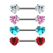 Pair Of Nipple Rings With Jeweled Heart Front-Facing Ends