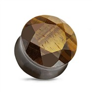 Pair Of Organic Multi-Faceted Tiger Eye Plugs