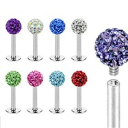 Internally threaded stainless steel labret stud with crystal paved ball, 16 ga