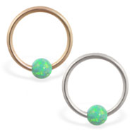 14K Gold captive bead ring with green opal ball