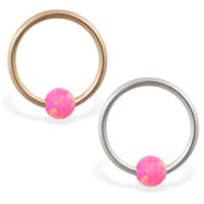 14K Gold captive bead ring with pink opal ball