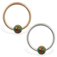 14K Gold captive bead ring with rainbow opal ball