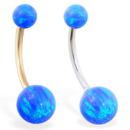 14K Gold Gorgeous Blue Opal Belly Ring