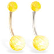 14K Gold Gorgeous Yellow Opal Belly Ring