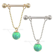 14K Gold nipple ring with dangling green opal ball on chain, 14 ga