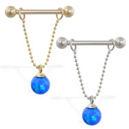 14K Gold nipple ring with dangling blue opal ball on chain, 14 ga