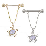 14K Gold nipple ring with dangling jeweled turtle, 14ga