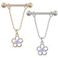 14K Gold nipple ring with dangling jeweled flower, 14ga