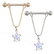 14K Gold nipple ring with dangling star on chain, 14 ga